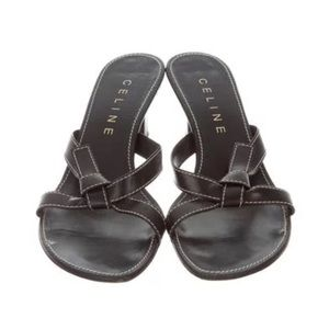 Celine Leather slide sandals